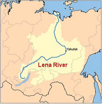 Russian Highway From Hell - Lena river on world map
