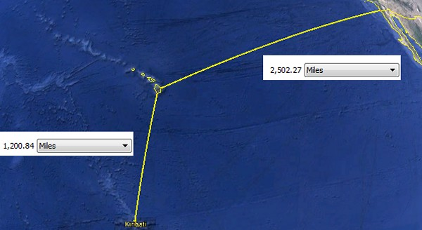 How far is it from Honolulu Hawaii to San Diego California?