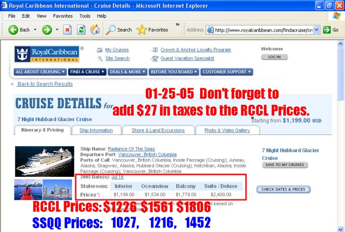 Business Policies - Caribbean cruise prices